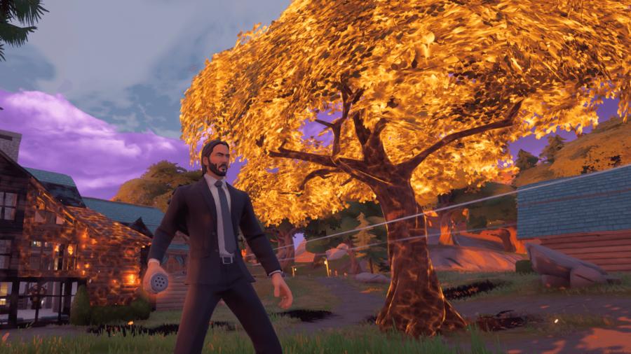John Wick setting the world on fire in Fortnite.