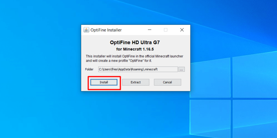 Installing OptiFine.