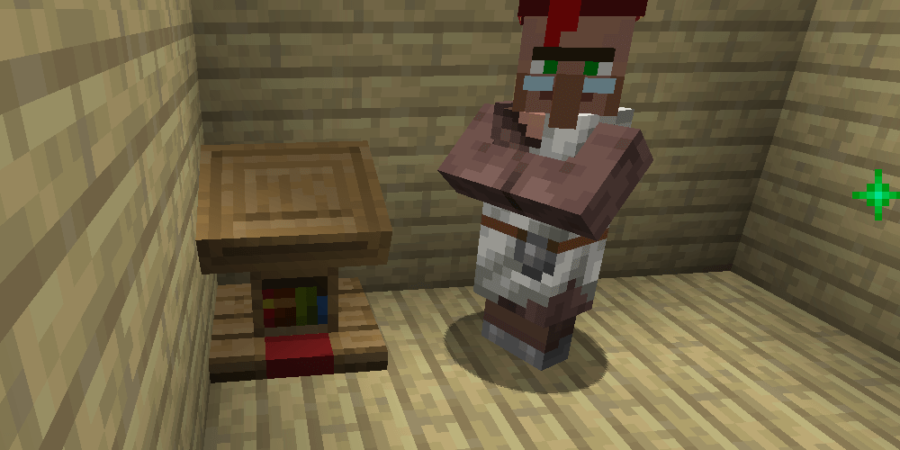 A Librarian next to a Lectern in Minecraft.