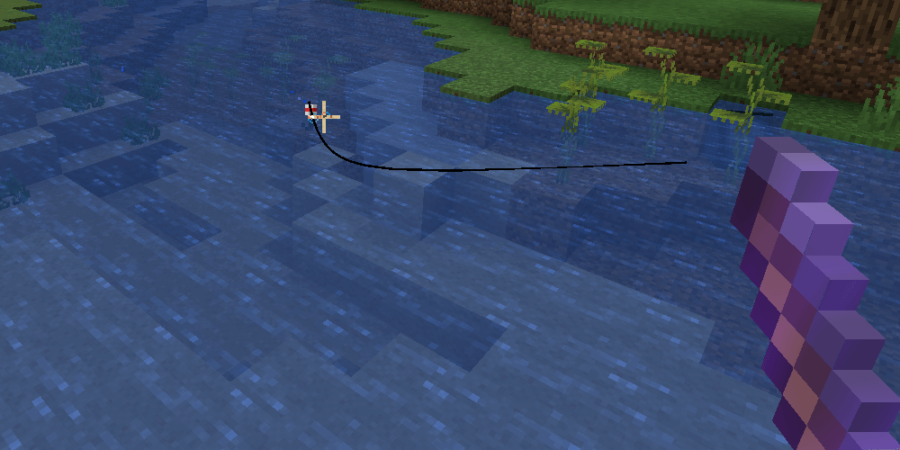 Fishing in Minecraft.