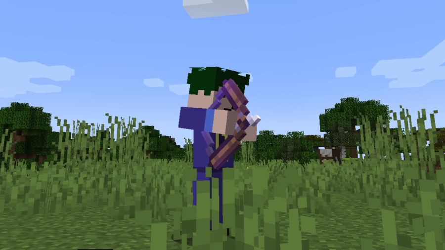 Barish firing an Enchanted Bow in Minecraft.