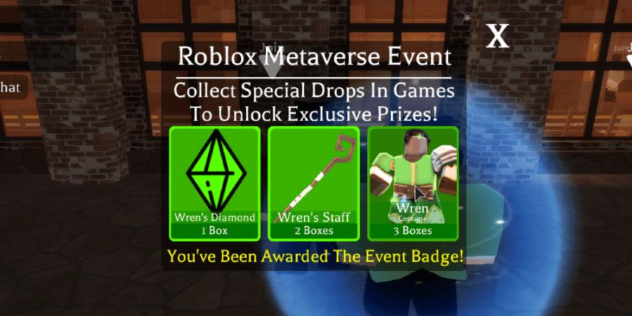 Winning the metaverse event Wren badge.
