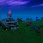 Raptors chasing a car in Fortnite.