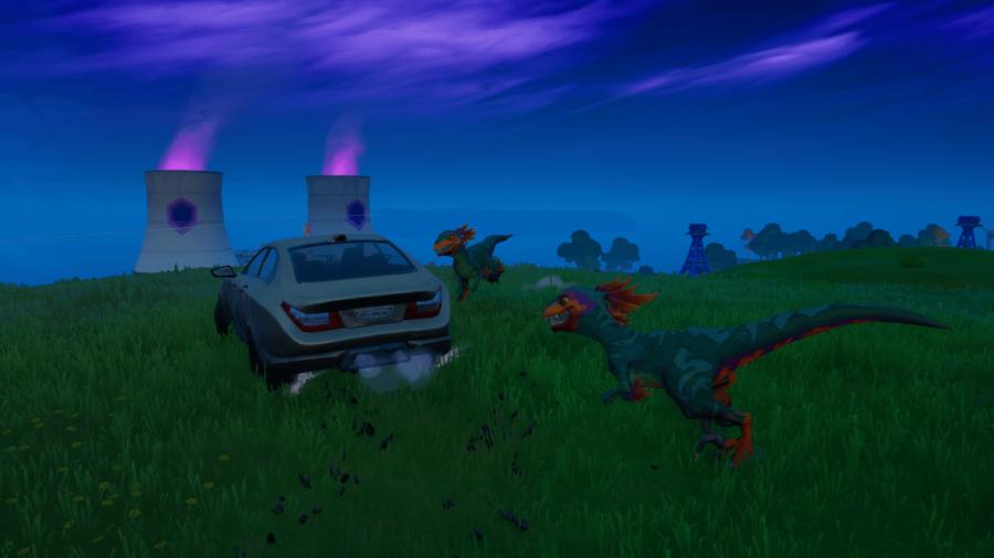 Raptors chasing a car in Fortnite.