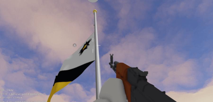 Raising a flag in Polybattle.