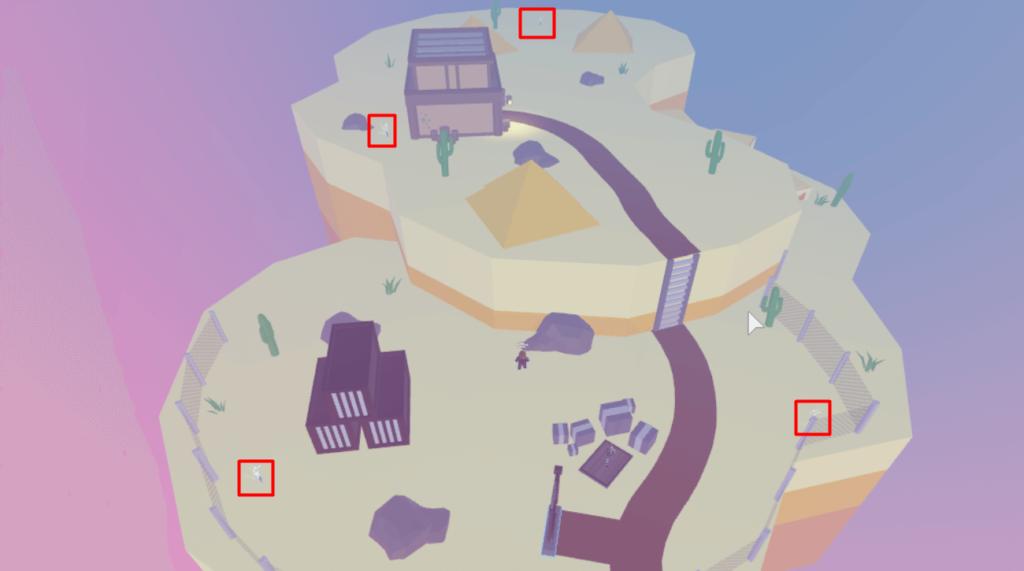 Desert area object locations.