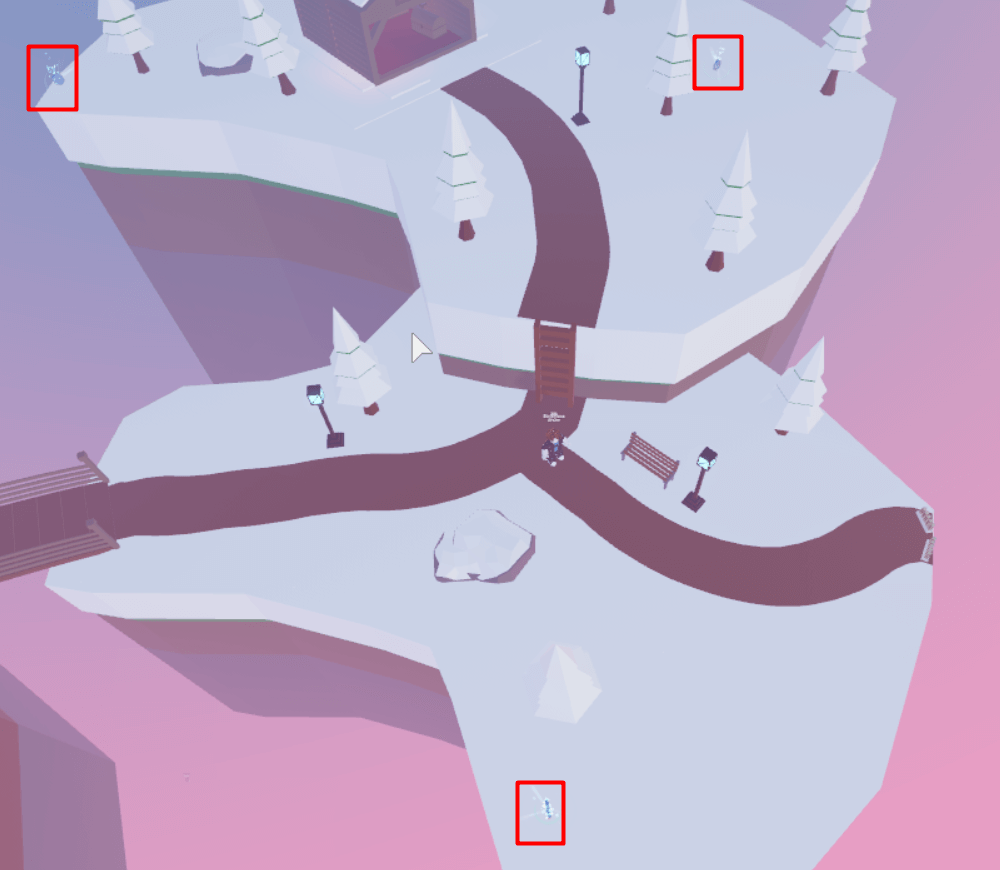 Snow area object locations in TTD3.