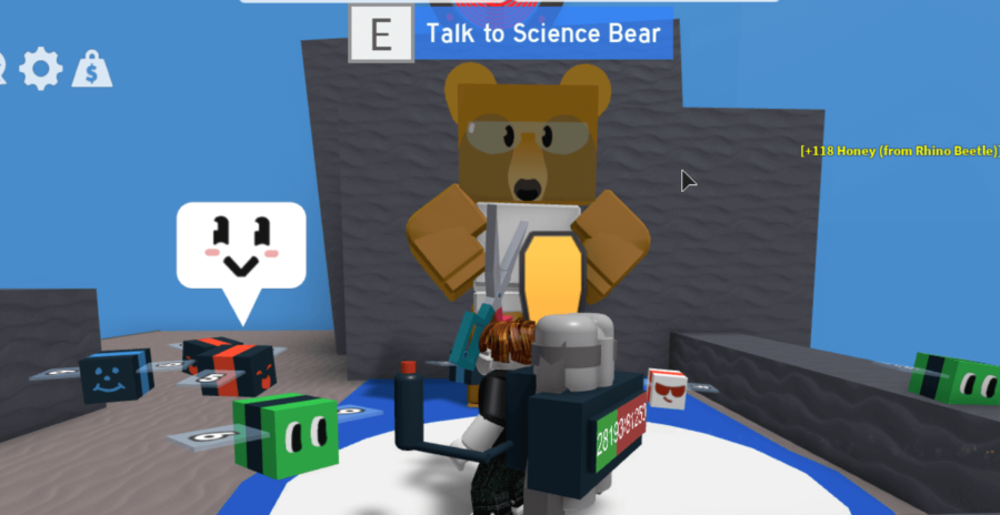 Science Bear in Roblox Bee Swarm Simulator.
