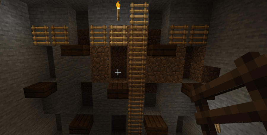Access to an open pit mine in Minecraft.