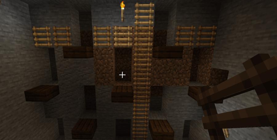 Access to a strip mine in Minecraft.
