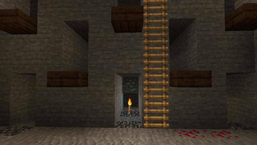 Diamon Ore in a Strip Mine in Minecraft.