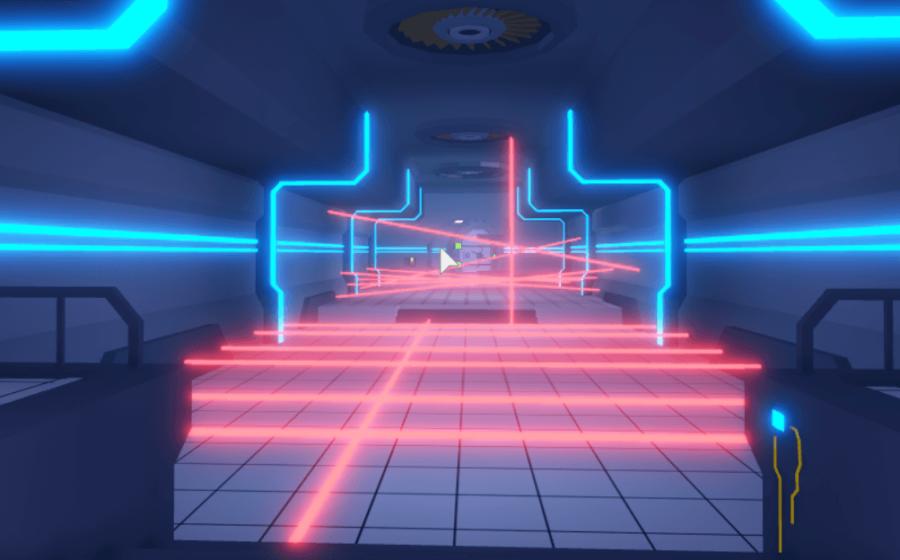 Laser beams in fishing simulator.