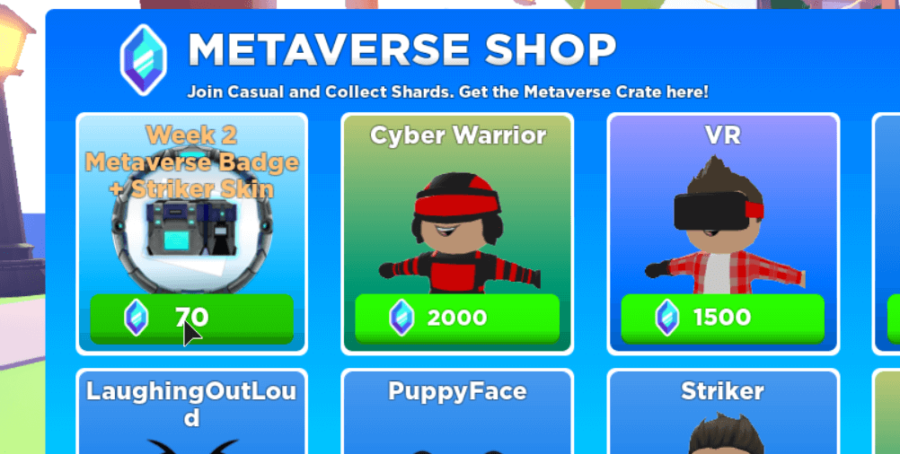 The event shop in DropBlox.