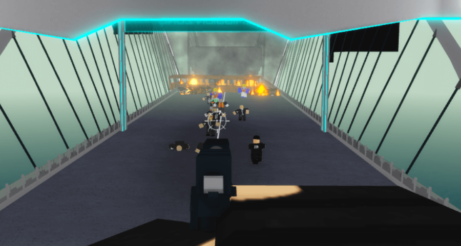 Shooting zombies in zombie task force.