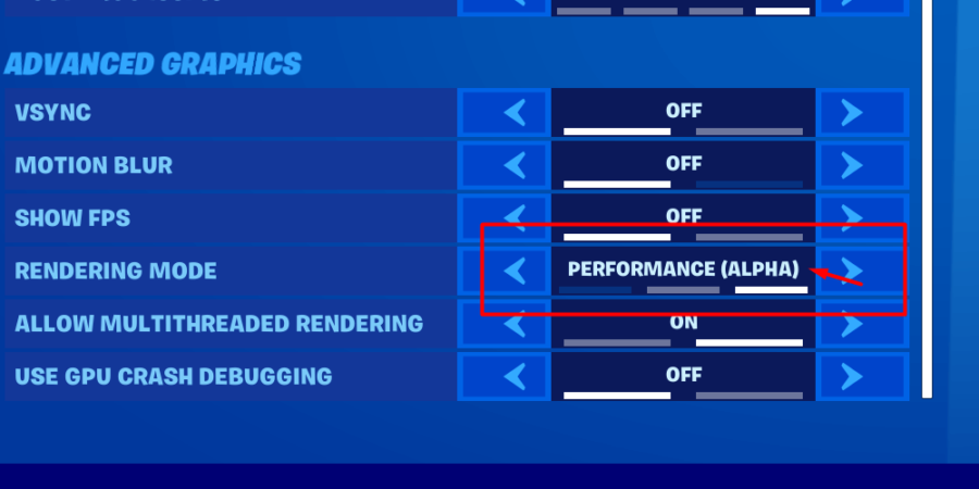 How to change Fortnite to Performance mode.