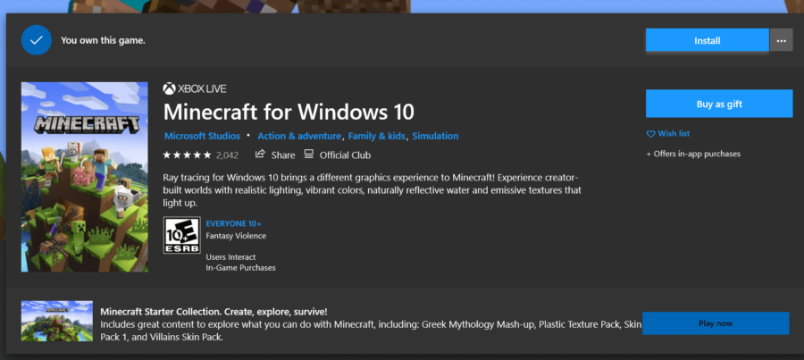 The Install button for Minecraft Windows 10.