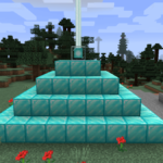 A fully built minecraft beacon pyramid.