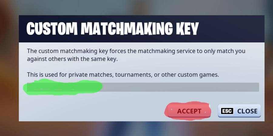 Entering a custom matchmaking key in fortnite.
