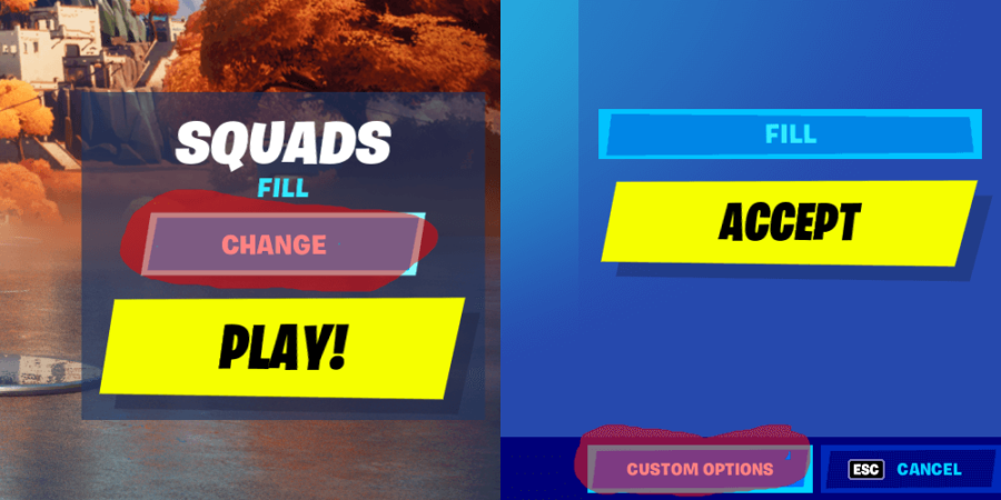 How to get to custom matchmaking in Fortnite.