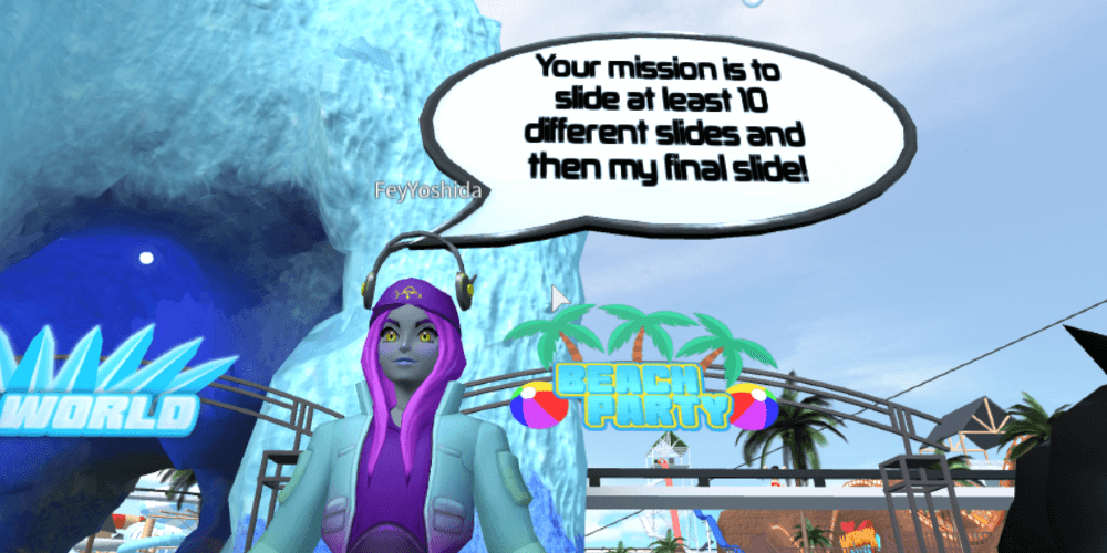 Fey's issuing a challenge in waterpark oceanic.