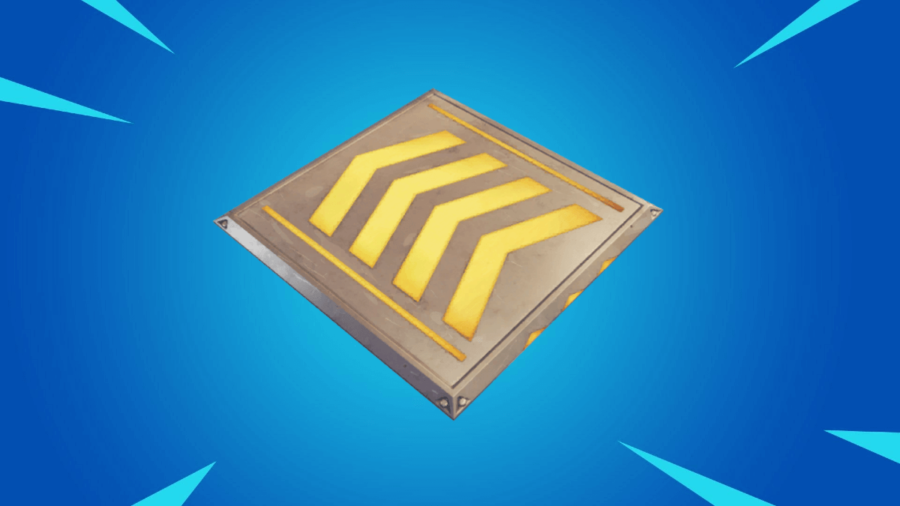 A Boost Pad on a Fortnite Background.