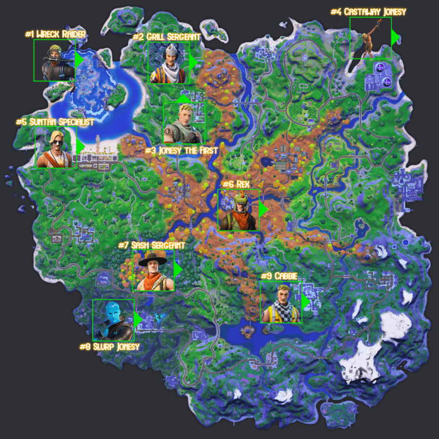 All Jonesy locations in Fortnite.