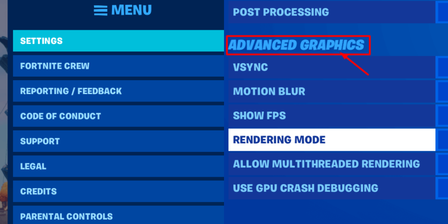 How to get to the Advanced Graphics options.