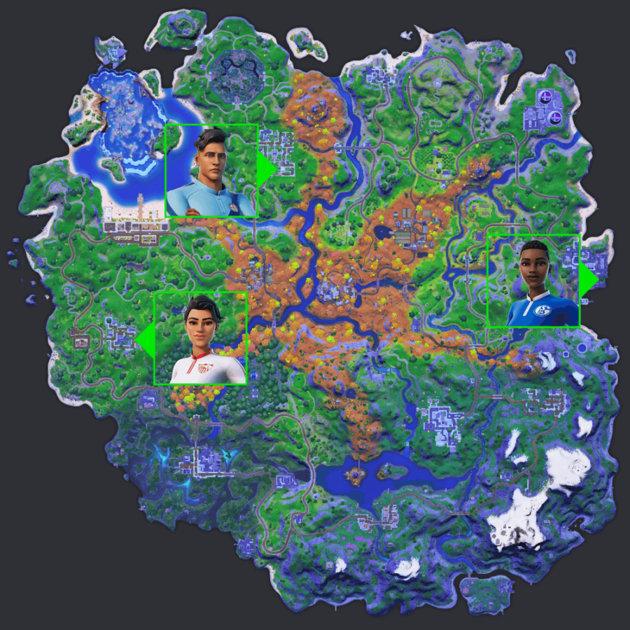 Fortnite Soccer NPC locations.