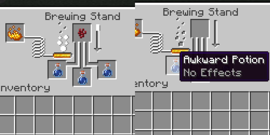 Brewing an Awkward Potion in Minecraft.