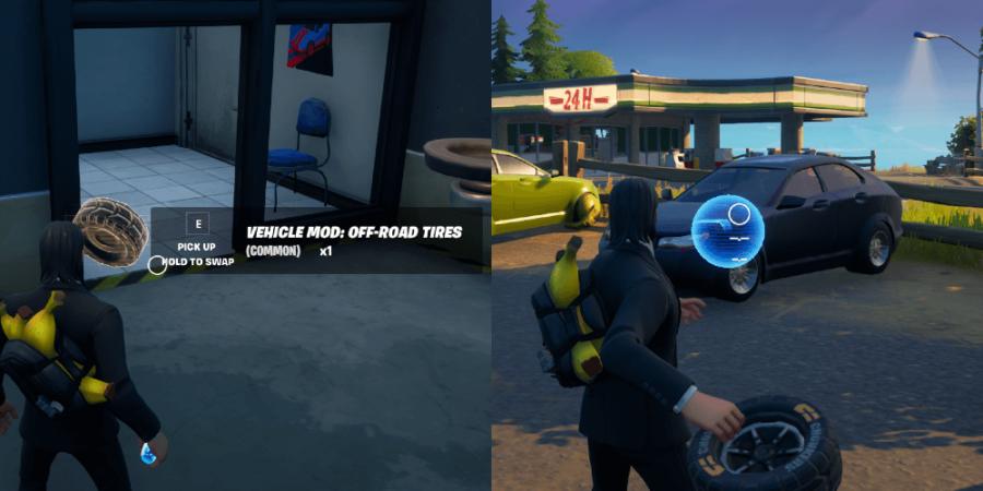 Modding a vehicle in Fortnite.