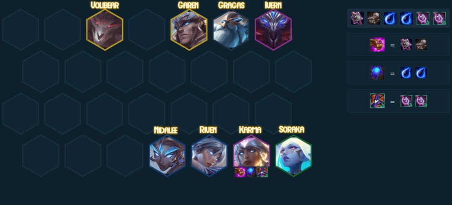 A dawnbringer comp in TFT 5.0.