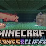 Minecraft Caves and Cliffs with axolotls fighting Guardians.