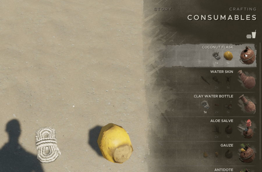 Crafting a Coconut Flask in Stranded Deep.