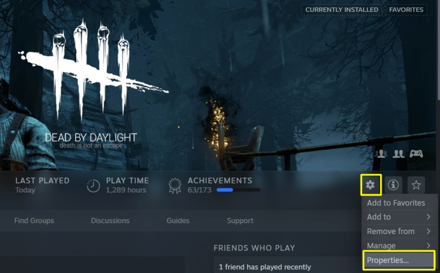 Accessing the settings in Steam DBD.