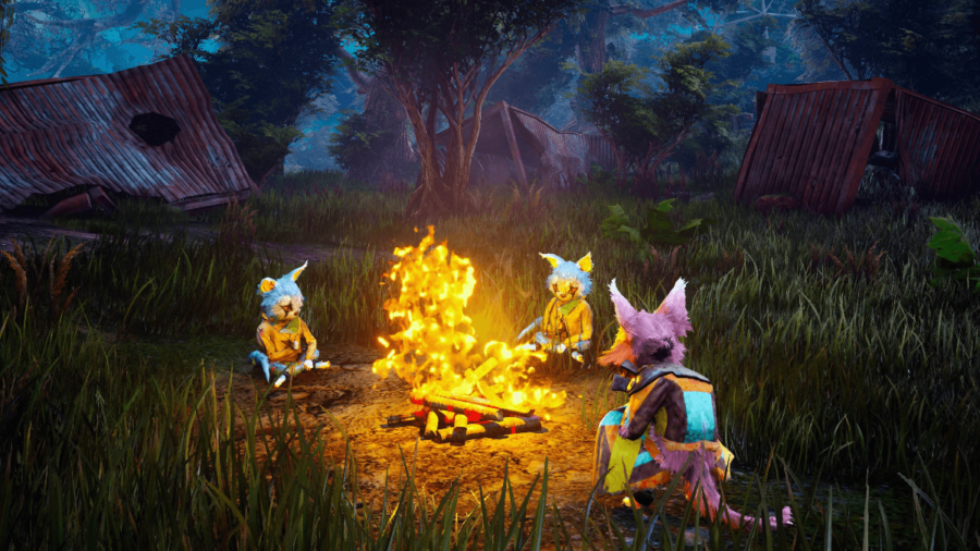 Biomutant Characters around a campfire.