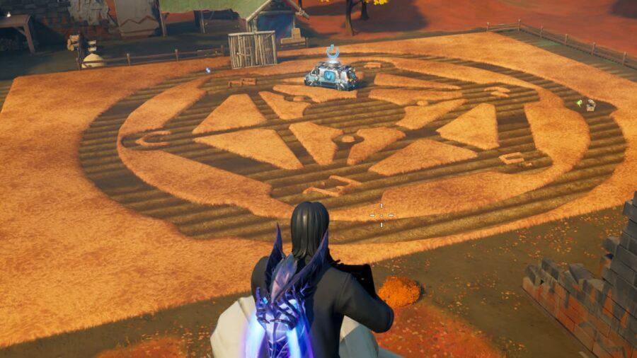 A crop circle in Fortnite.
