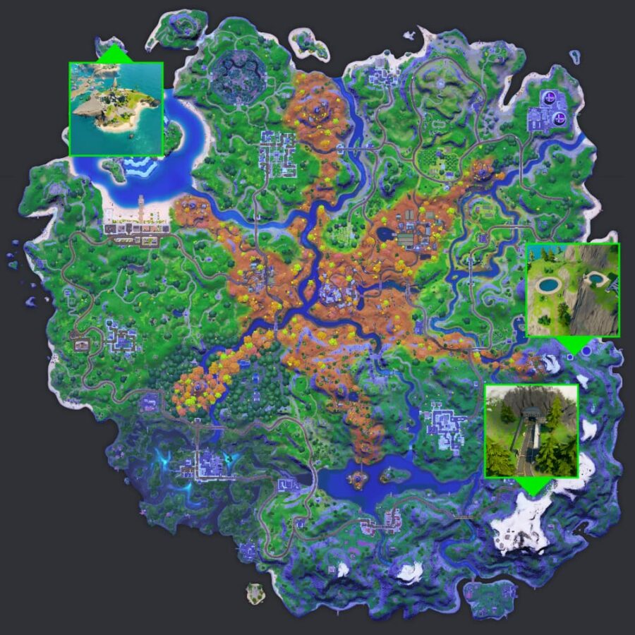 Ghost and Shadow Ruins in Fortnite.