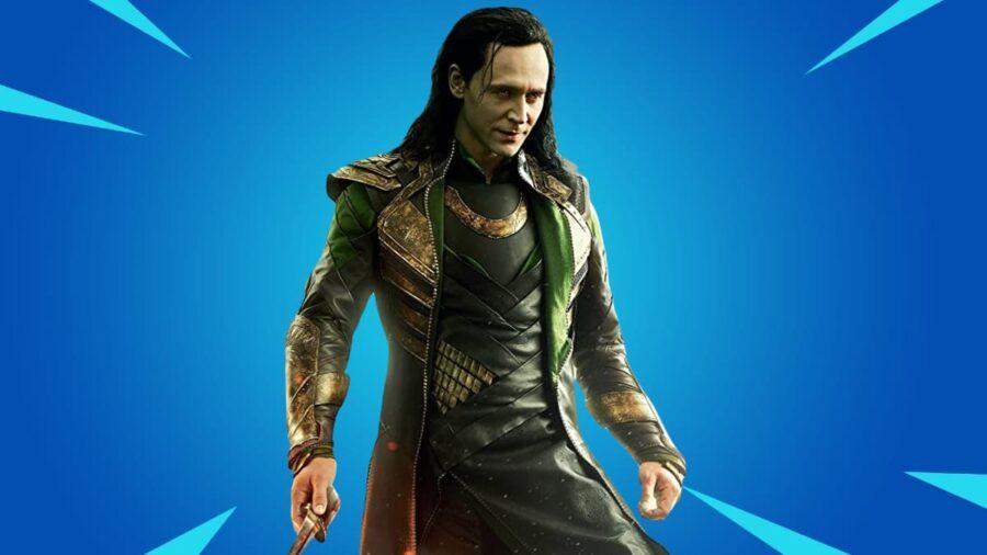 Loki against Fortnite background.