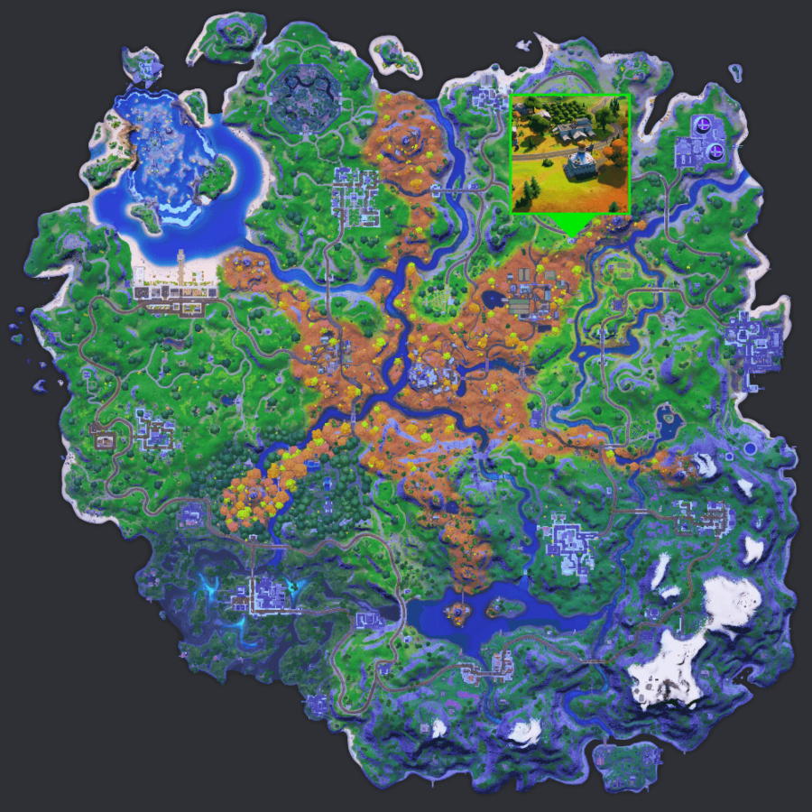 The location of the Pizza Pit in Fortnite.