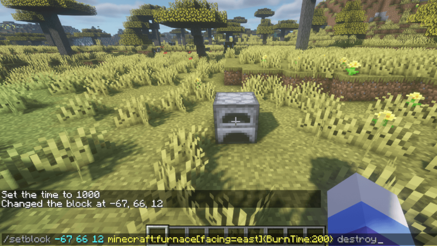 Minecraft Setblock Command being used.