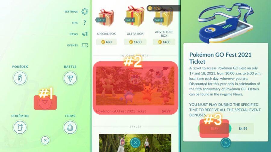 How to buy a Pokemon Go ticket.