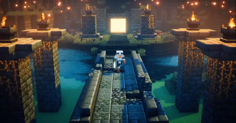 Screenshot of Minecraft Dungeons gameplay trailer