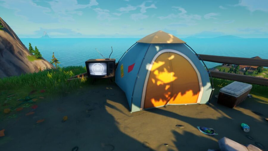 A Spooky TV Set in Fortnite.