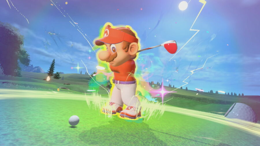 Mario doing a Super Strike in Mario Golf Super Rush.