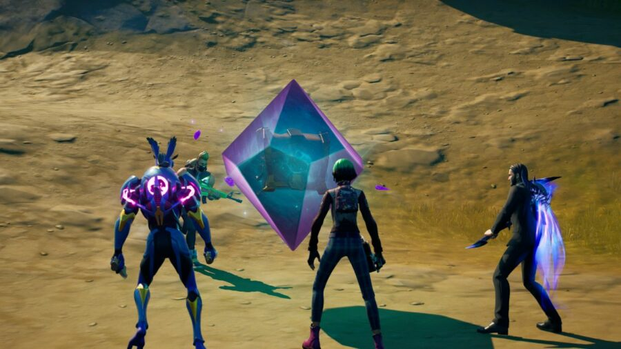 Players standing around a Cosmic Chest.
