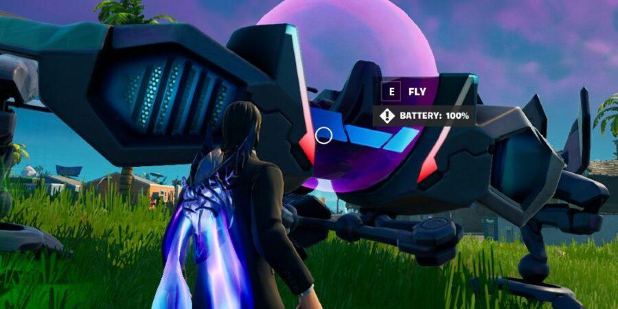 Entering a UFO in fortnite.