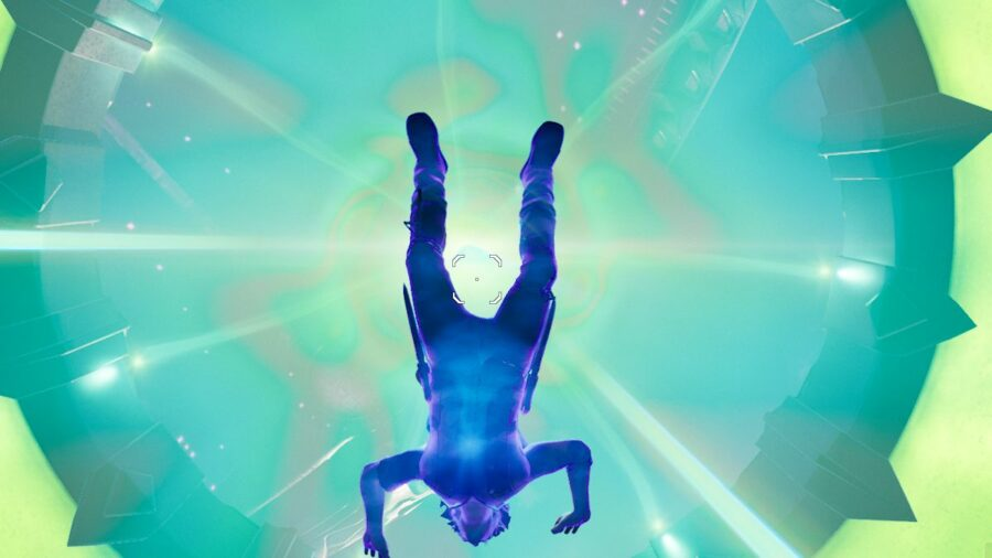 Getting abducted in Fortnite.