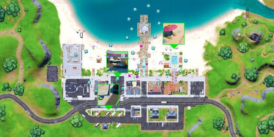 The boombox locations in Believer Beach.