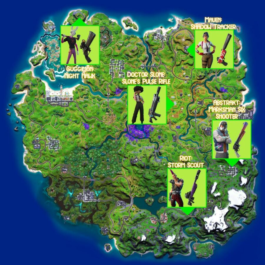 Exotic Weapon locations in Fortnite Chapter 2 Season 7