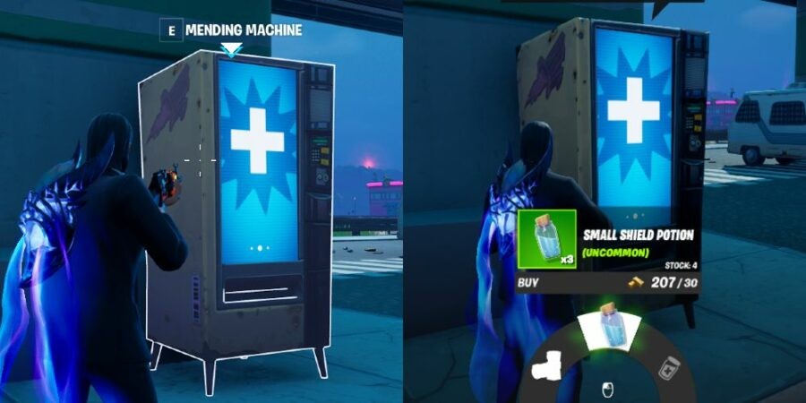 How to buy a shield potion from a MEnding Machine.